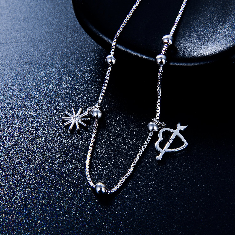 ZENI 925 Sterling Silver Women Anklet Daisy Love Adjustable Beads Anklet