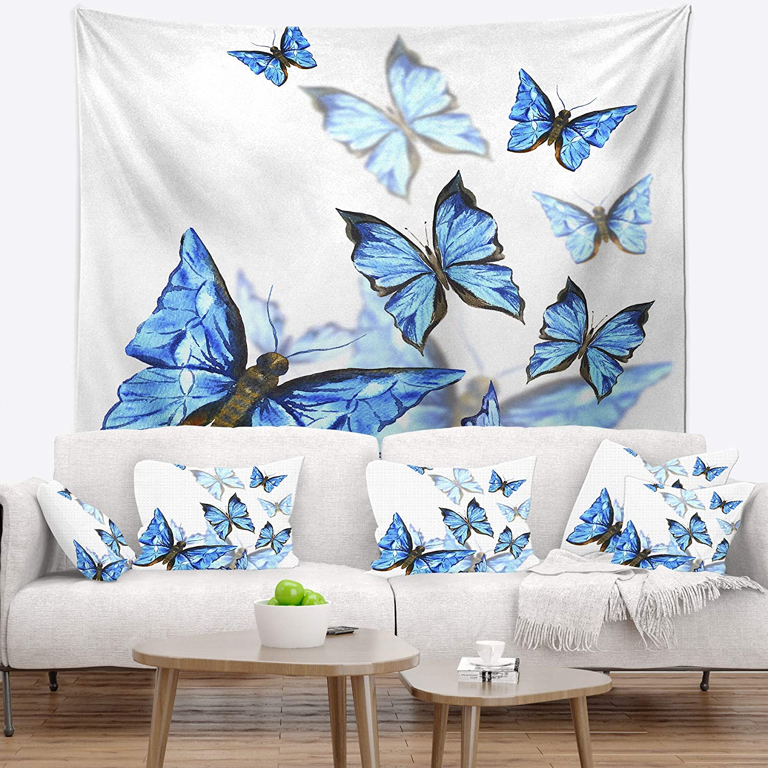 Created on Lightweight Polyester Fabric Designart TAP13309-50-60 Watercolor Butterflies on White Floral Blanket D/écor Art for Home and Office Wall Tapestry Large 50 x 60
