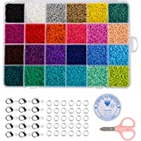 Naler 24000pcs Multicolor 2mm Pony Glass Seed Beads with Lobster Clasps, Open Jump Rings and Elastic Crystal String for…