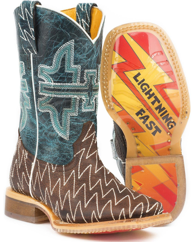 Tin Haul Shoes Boys' Thunderbolt Western Boot, Brown, 10 Medium US Toddler