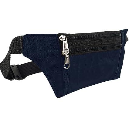 Unknown Mens Slim Money//Security Belt Fanny Pack Zips Travel Onesize Navy