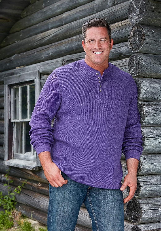 Heather Slate Blue Tall-6XL KingSize Mens Big /& Tall Waffle-Knit Thermal Henley Tee