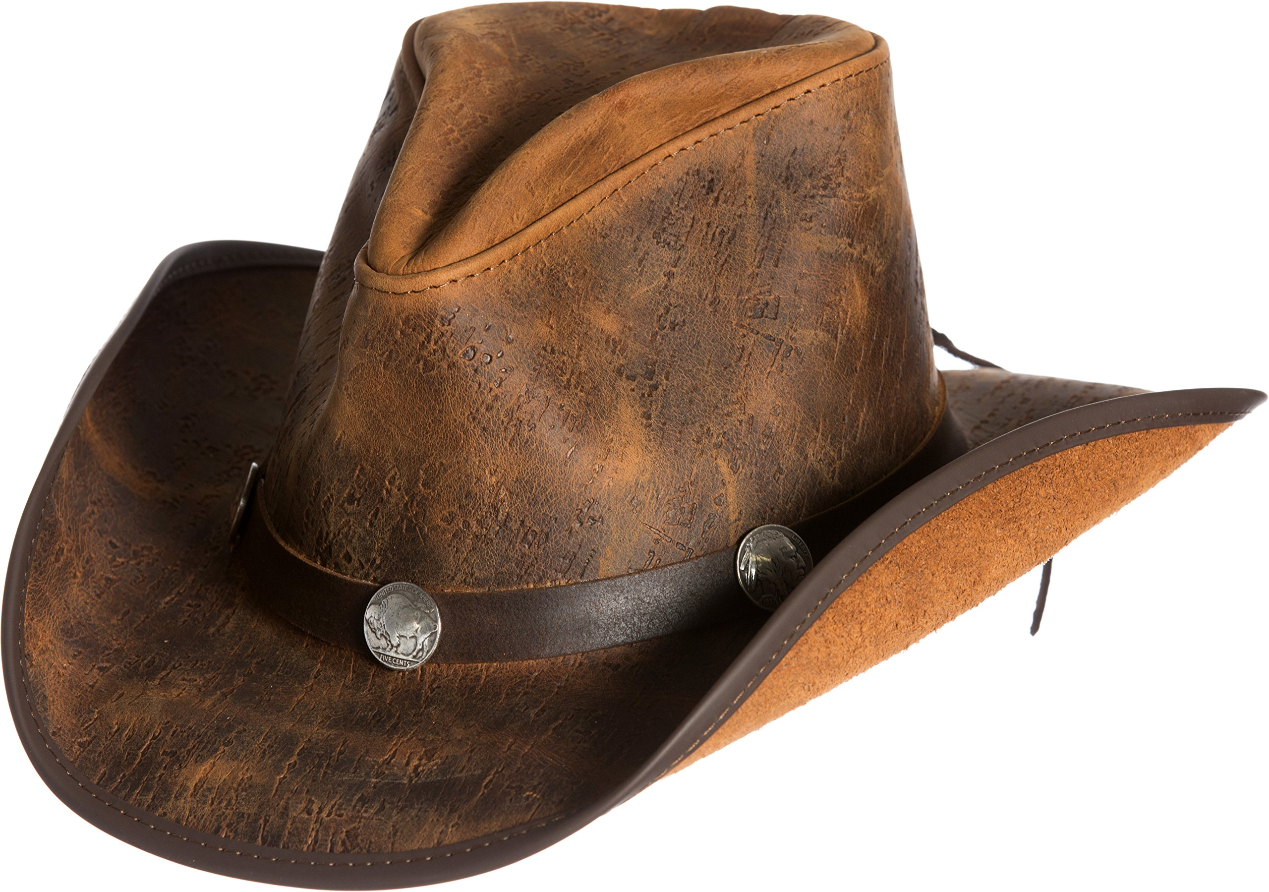 Overland Sheepskin Co Cyclone Leather Cowboy Hat With Buffalo nickels by Overland Sheepskin Co