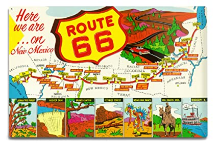 Amazon.com: New Mexico - Route 66 Map (12x18 Aluminum Wall Sign ...