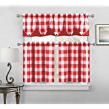Charmant Sheer Small Red And White Three Piece Kitchen/Cafe Tier Window Curtain Set  Gingham Check