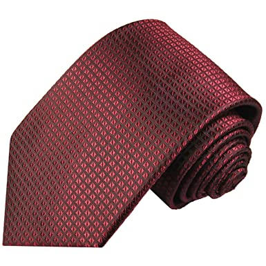 Paul Malone corbata de seda patrón de waffle burdeos rojo: Amazon ...
