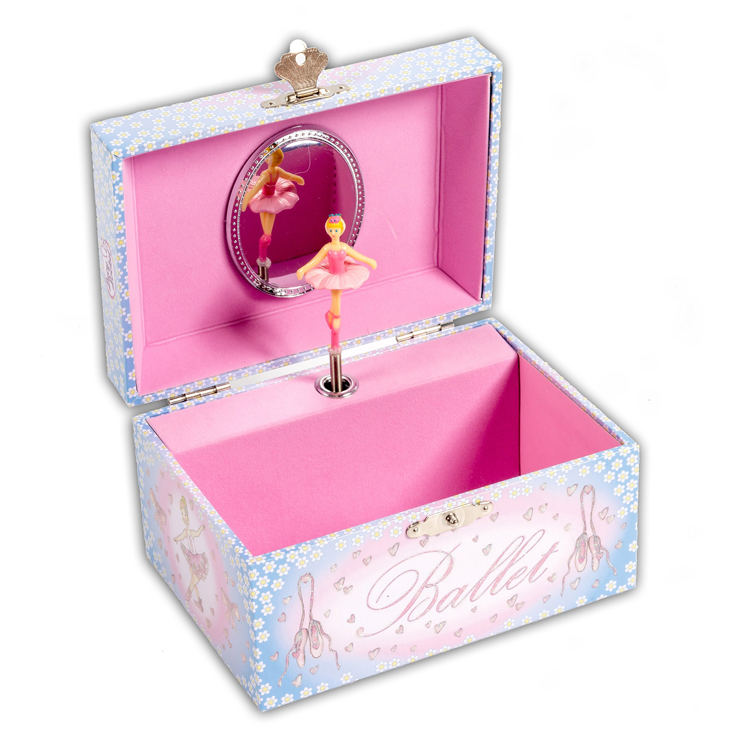 Ballerina Kids Musical Jewelry Box - Pink and Blue Glittery Musical Box - Lucy Locket