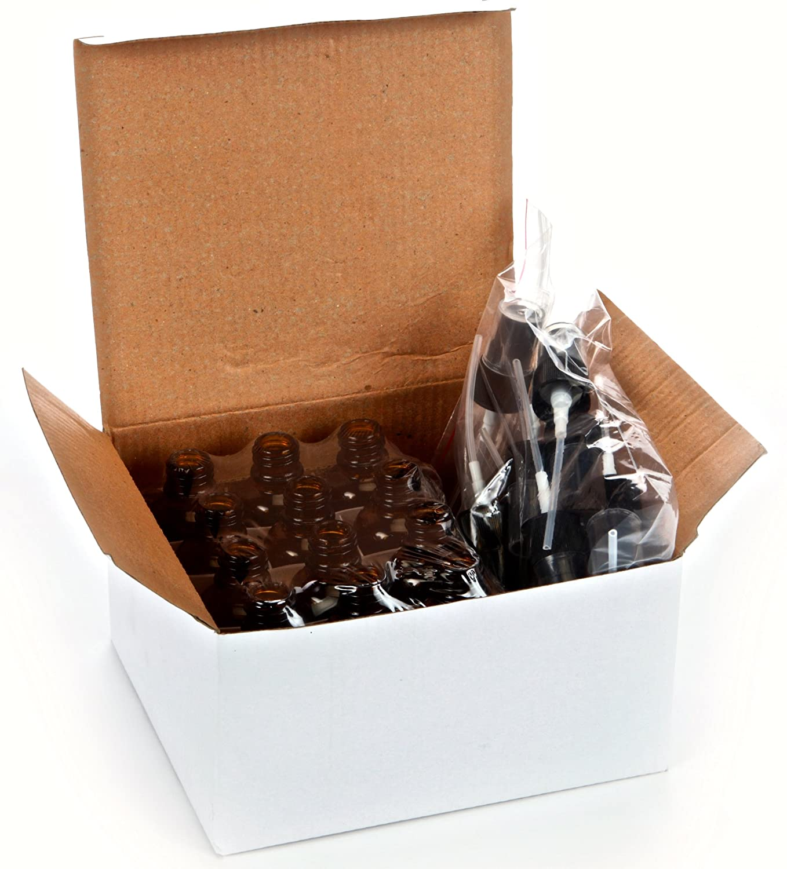 12, Amber, 1 oz Glass Bottles, with Black Fine Mist Sprayers: Industrial & Scientific