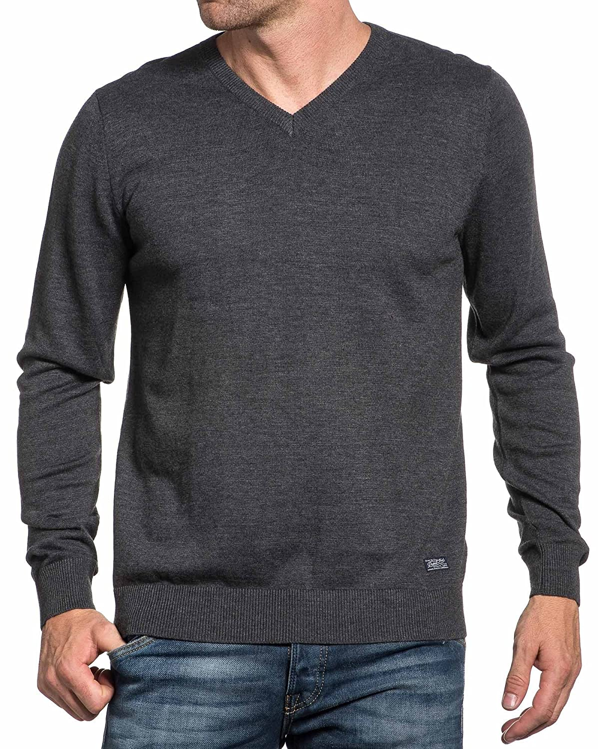 Petrol Industries - fine gray sweater plain V-neck Men