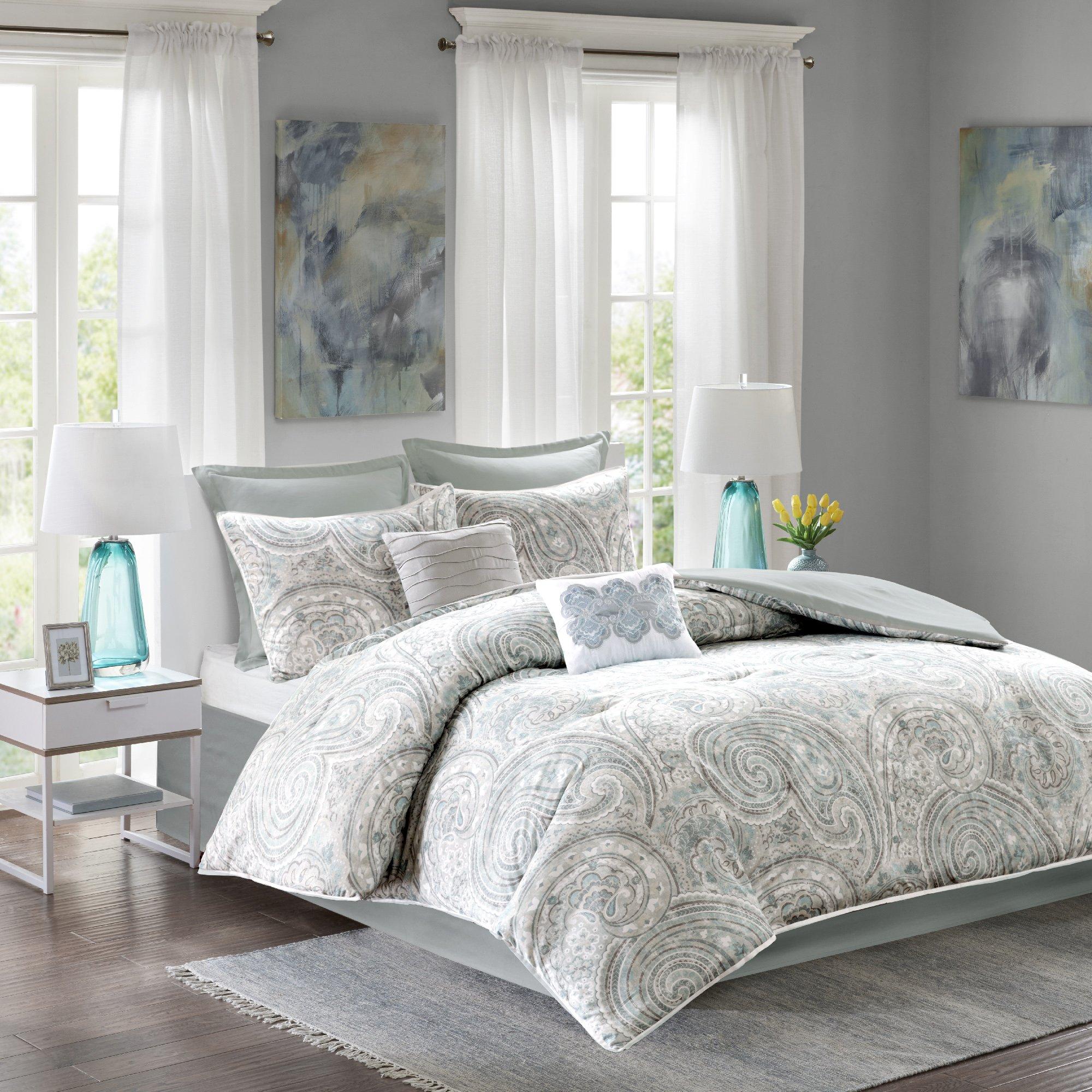 Comfort Spaces - Kashmir Comforter Set - 8 Piece - Paisley Pattern - Blue, Grey, Green - Full/Queen - 1 Comforter, 2 Shams, 1 Bedskirt, 2 Euro Shams, 2 Décorative Pillows
