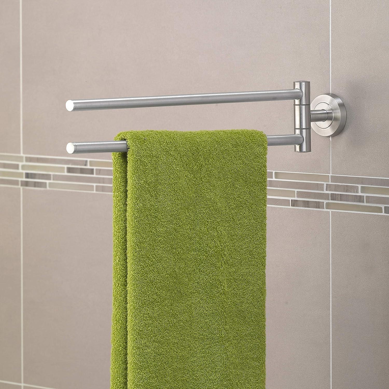 kleben oder bohren Handtuchstange Edelstahl AMARE Handtuchhalter Badaccessoires 2 armig Handtuchhaken