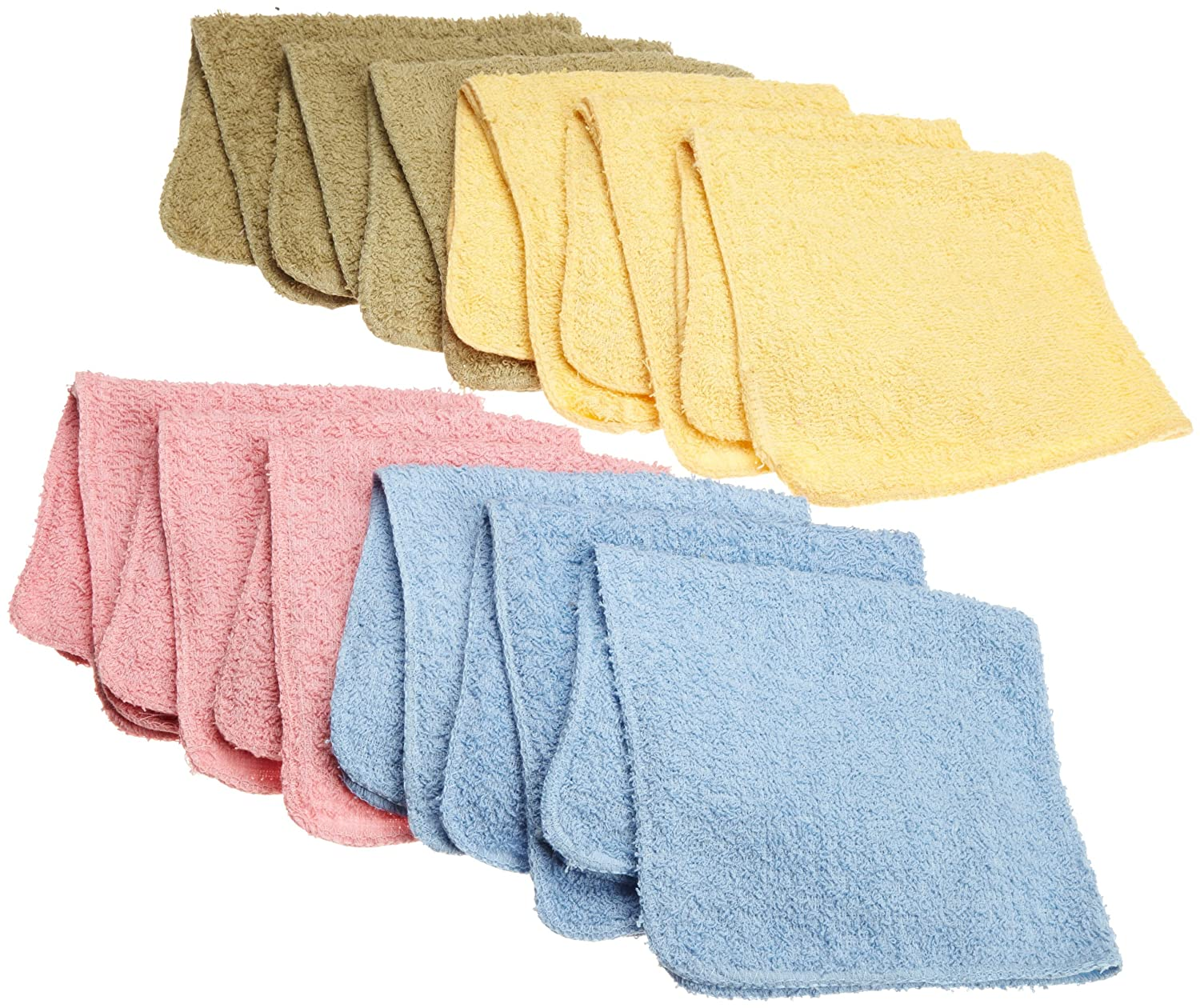 Ashley Mills Wash Cloths 12 by 12-Inch,Yellow/Blue/Sage/Rose, 12-Pack SM Products WC0065
