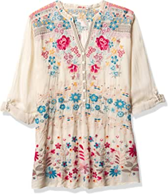 Johnny Was Women's Rayon Long Sleeve Contrast Embroidered Blouse