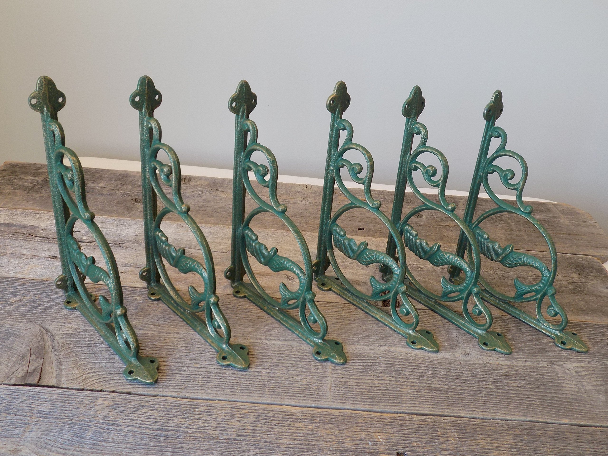 6 CAST Iron Mermaid Nautical Shelf Brackets
