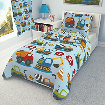 CONSTRUCTION 2 Pieces Bedding Set Duvet Covet + Pillowcase To Fit Cot Cot  Bed Toddler Bed
