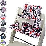 BambiniWelt Cojín de asiento para trona Stokke Tripp Trapp, en 20colores, asiento de 2piezas, funda de respuesto blanco Weiß Rote Bunte Tiere