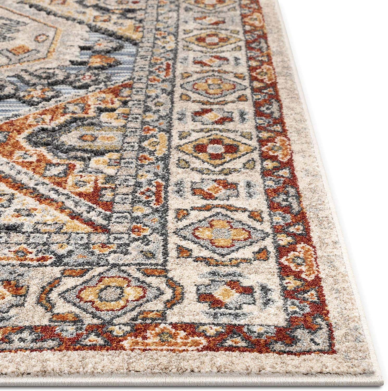 23 x 73 Well Woven Pelle Blue Oriental Medallion Flat-Weave Hi-Low Pile Runner Rug 2x7