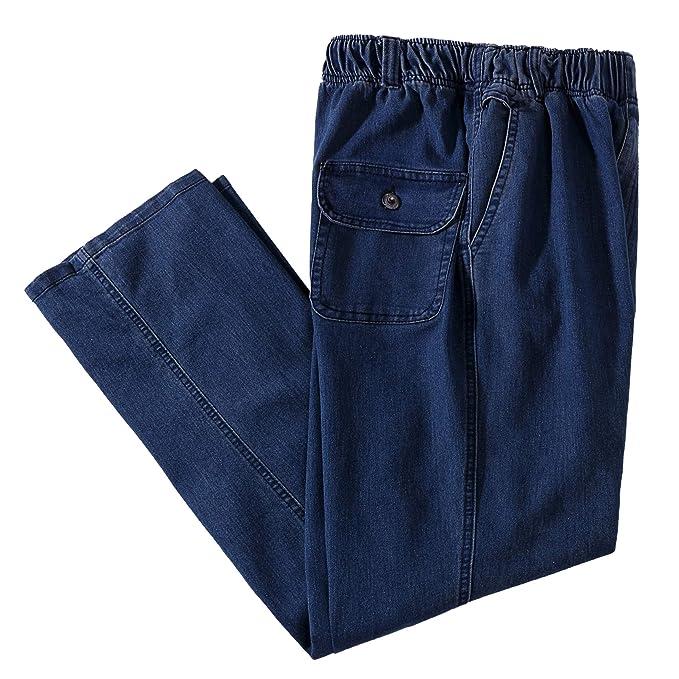 IDEALSANXUN Men's Elastic Waist Loose Fit Denim Pants Casual Solid Jeans Trouser (44, Dark Blue)