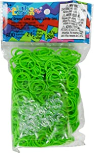 Rainbow Loom Lime Green Rubber Bands with 24 C-Clips (600 Count)