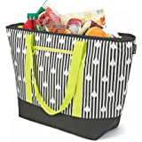 12 Gallon Insulated Mega Tote Bag for Transporting Frozen Food, Perishables and Hot Food - Black/White Stripes Print with Yellow Handles/Shoulder Straps
