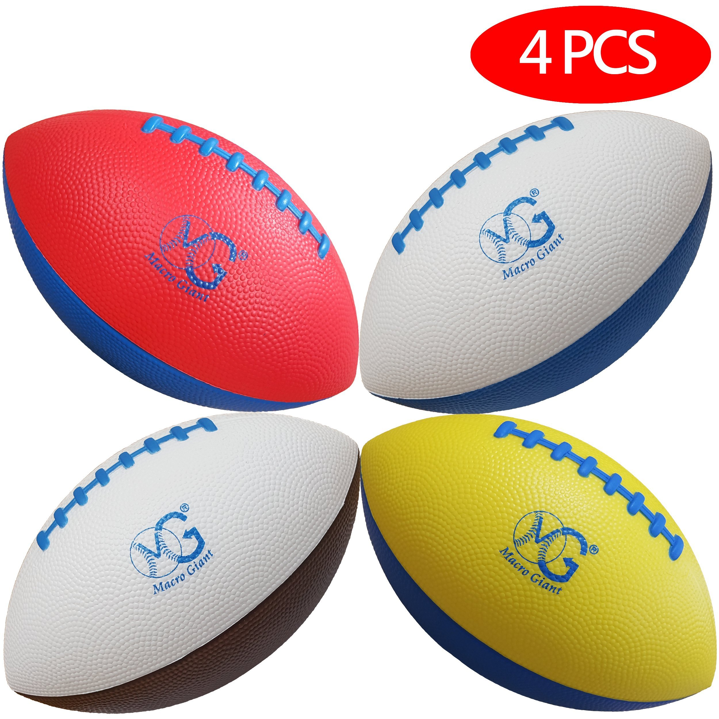 Macro Giant 9 Inch Foam Football, Set of 4, 4 Colors (Blue, Brown, Yellow, Red), Beginner, Training Practice