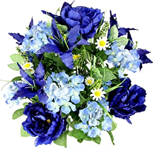 Admired By Nature Artificial Full Blooming Tiger Lily, Peony & Hydrangea with Green Foliage Mixed Bush for Home, Wedding, Restaurant & Office Decoration Arrangement, Blue, 24 Stems