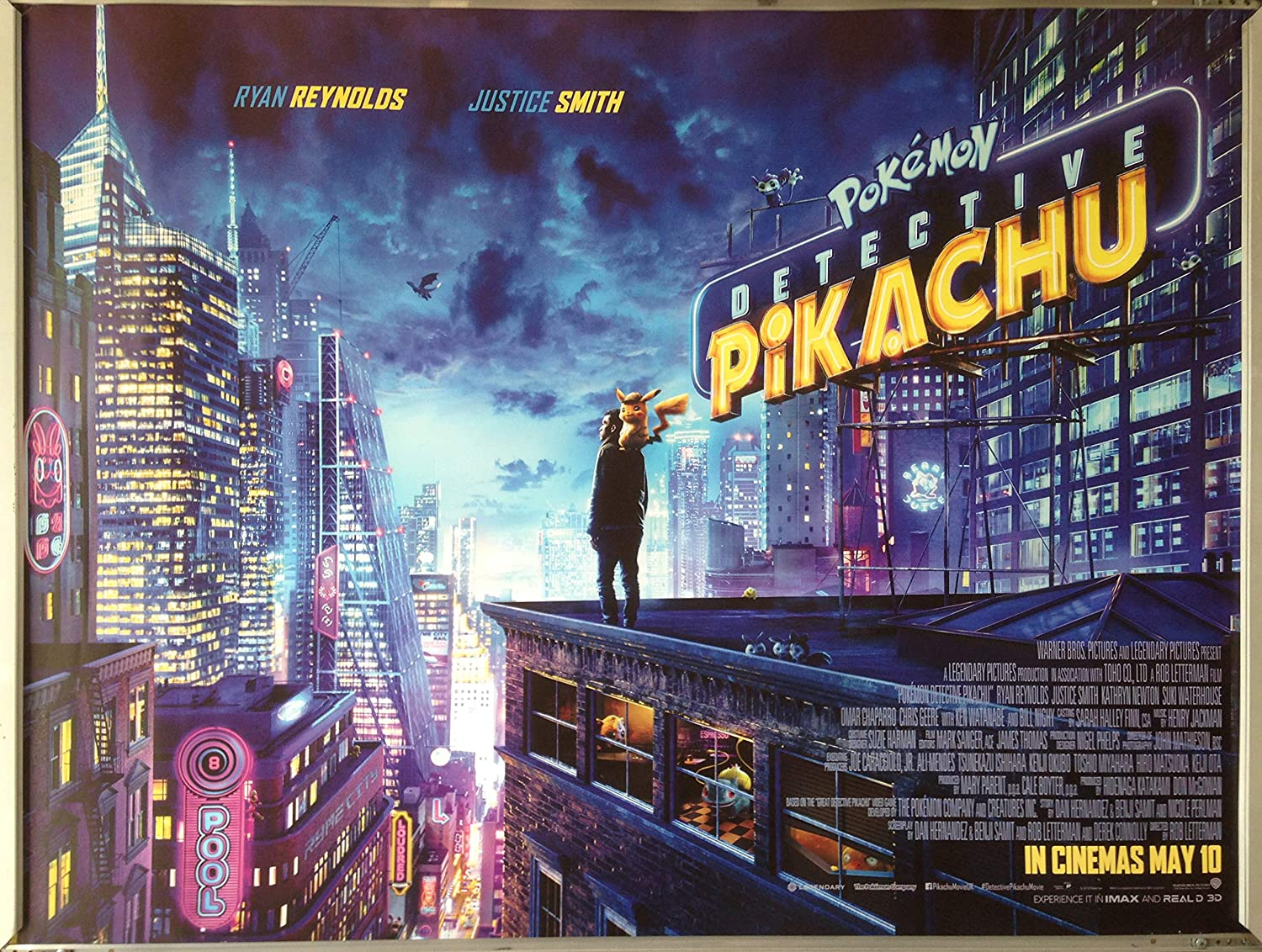 Favouritefilm Cinema Poster Pokemon Detective Pikachu 2019 Quad Ryan Reynolds Amazon Co Uk Kitchen Home