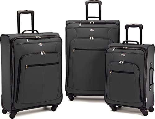 American Tourister 64590 AT Pop Plus Suitcase, 3 Piece Set One Size, Charcoal
