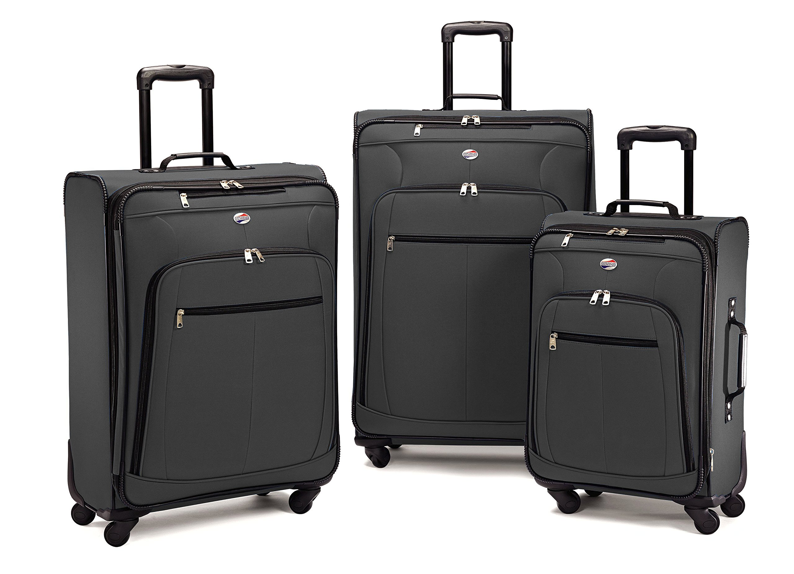 American Tourister 64590 AT Pop Plus Suitcase, 3 Piece Set (One Size, Charcoal)