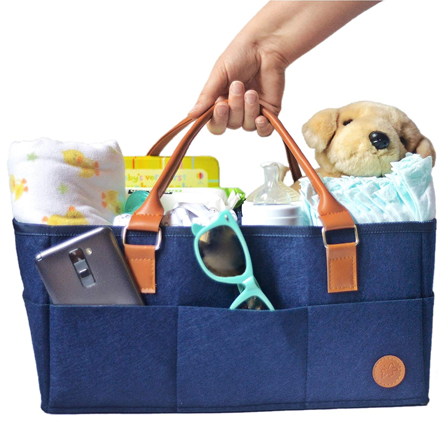 NEW Baby Diaper Caddy by Hibiscus & Co. | Nursery Organizer | Large Portable Car Travel Tote Bag | Storage Bin for Diaper Changing Table| Newborn Essentials | Girl Boy Baby Shower Registry Gift Basket Navy101507g
