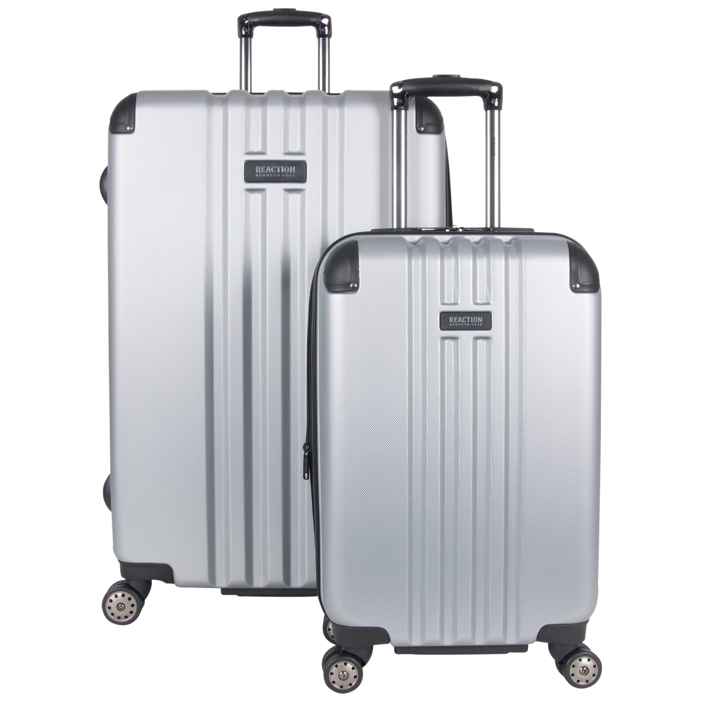 Kenneth Cole Reaction Reverb Hardside Expandable 8-Wheel Spinner 2-Piece Luggage Set; 20'' Carry-on, 29'', Light Silver