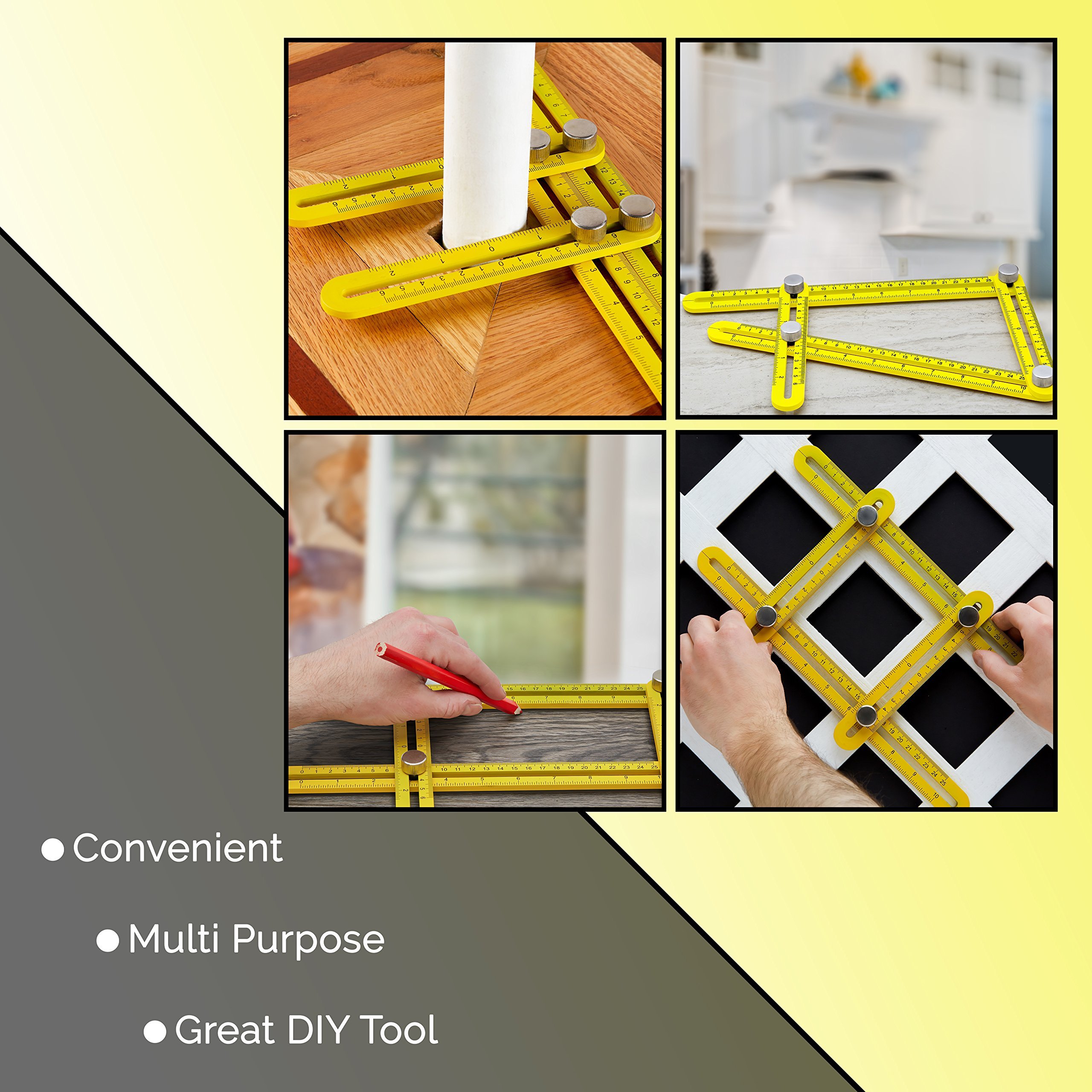 Universal Angularizer Ruler and Multi-Angle Measuring Tool in Yellow Metal - Template Tool Makes Great Gifts for Men Him Husband Dad Father DIY by Premium Rhino (Image #2)