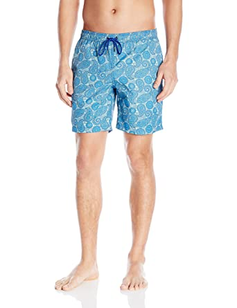 d307ee1944 Mr. Swim Men's Paisley Dale Elastic Swim Trunk, Blue, Medium | Amazon.com