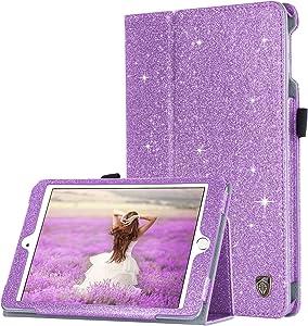 BENTOBEN iPad Mini 4 Case, iPad Mini 5 Case, Slim Glitter Bling PU Leather Stand Smart Folio Case Cover with Auto Sleep/Wake Function for Apple iPad Mini 4 (2015) / Mini 5 (2019) 7.9 inch, Purple