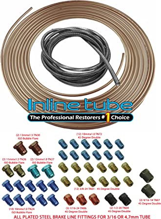 Copper Coated Steel Brake Line Tubing Coil and Fitting Kit 1//4 x 25