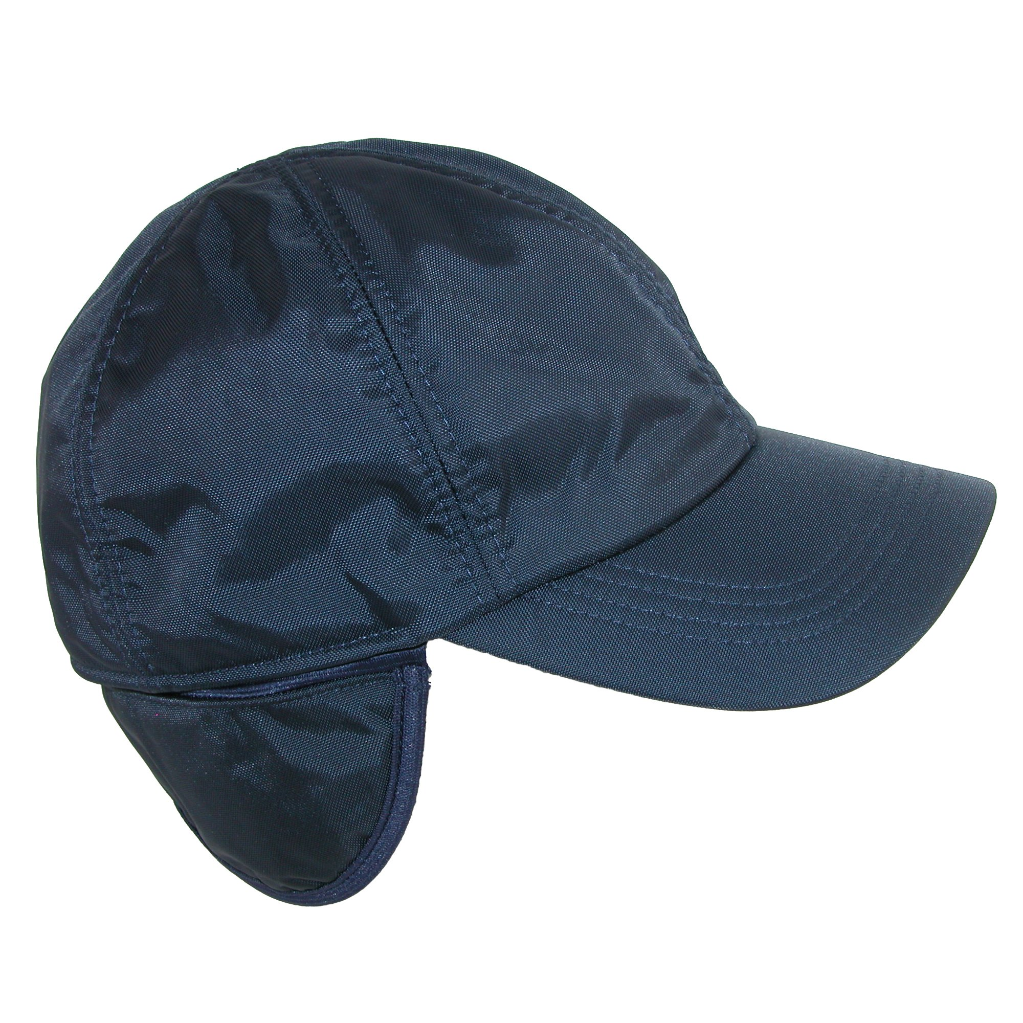 Wigens Men's Classic Nylon Baseball Cap with Faux Fur Lining and Earflaps, 59