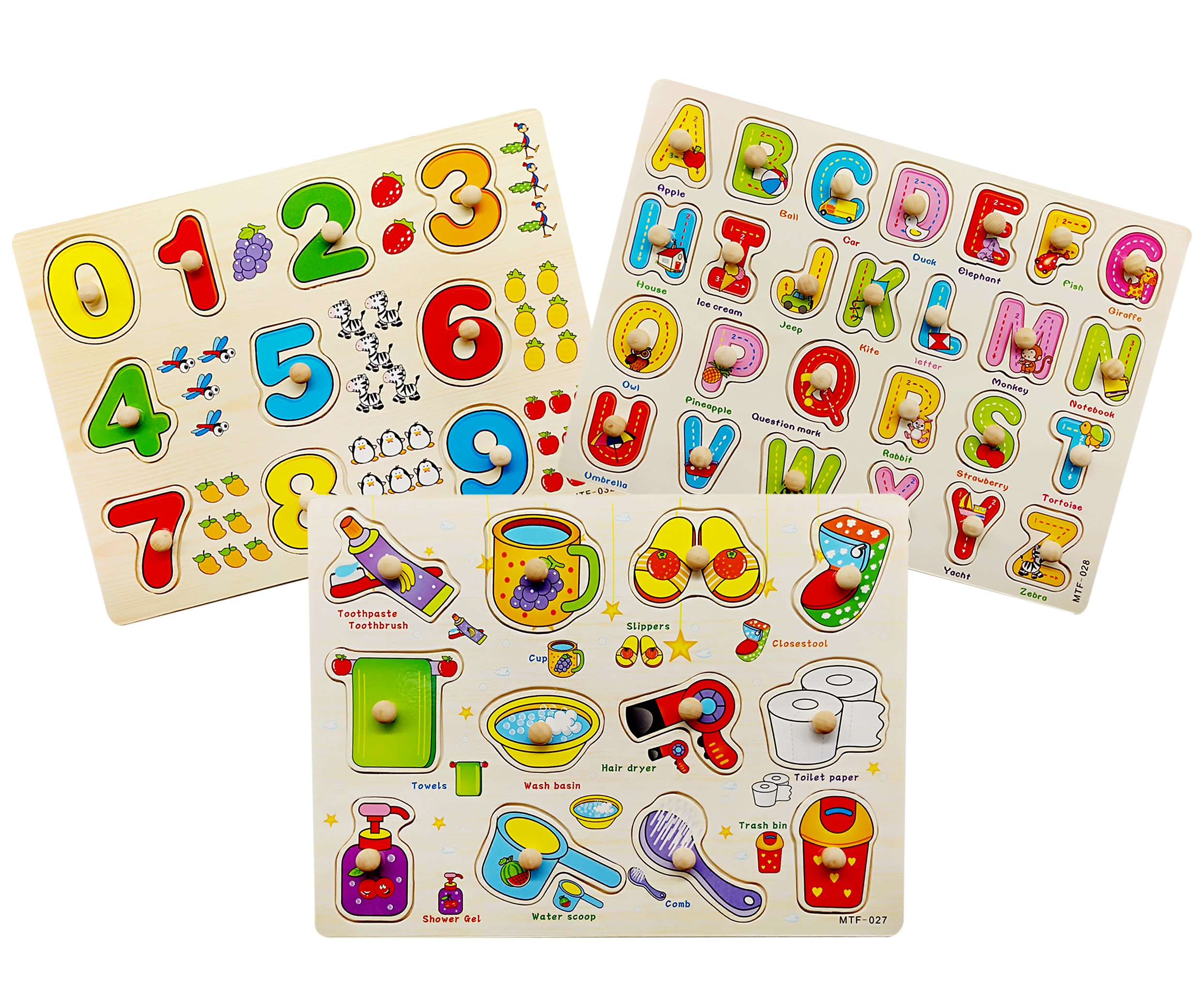 Toddler Puzzles Wooden Peg Puzzles for Toddlers 2 3 4 5 years old (Set of 3) - Numbers, Alphabet and Objects Puzzle by Wallxin by Wallxin (Image #1)