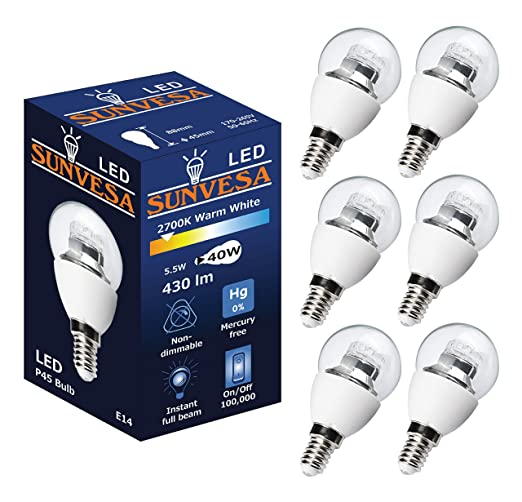 Pack of 6 SUNVESA 5 5W P45 LED Mini Globe Bulb, E14 Small