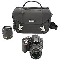 Nikon D3300 DX Kit Cámara Foto DSLR con Zoom Lenses de 18-55mm DX VR II y 55-200mm DX VR II, Estuche, SD Card DE 16 GB y Tripie, Color Negro