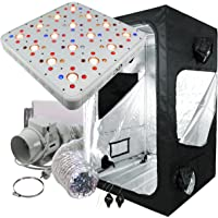 Cultivalley Growbox Komplett-Sets 120x120x200cm, 600W NDL MH Wuchs & HPS Blüte Bausatz, Klimaset mit AKF Abluft