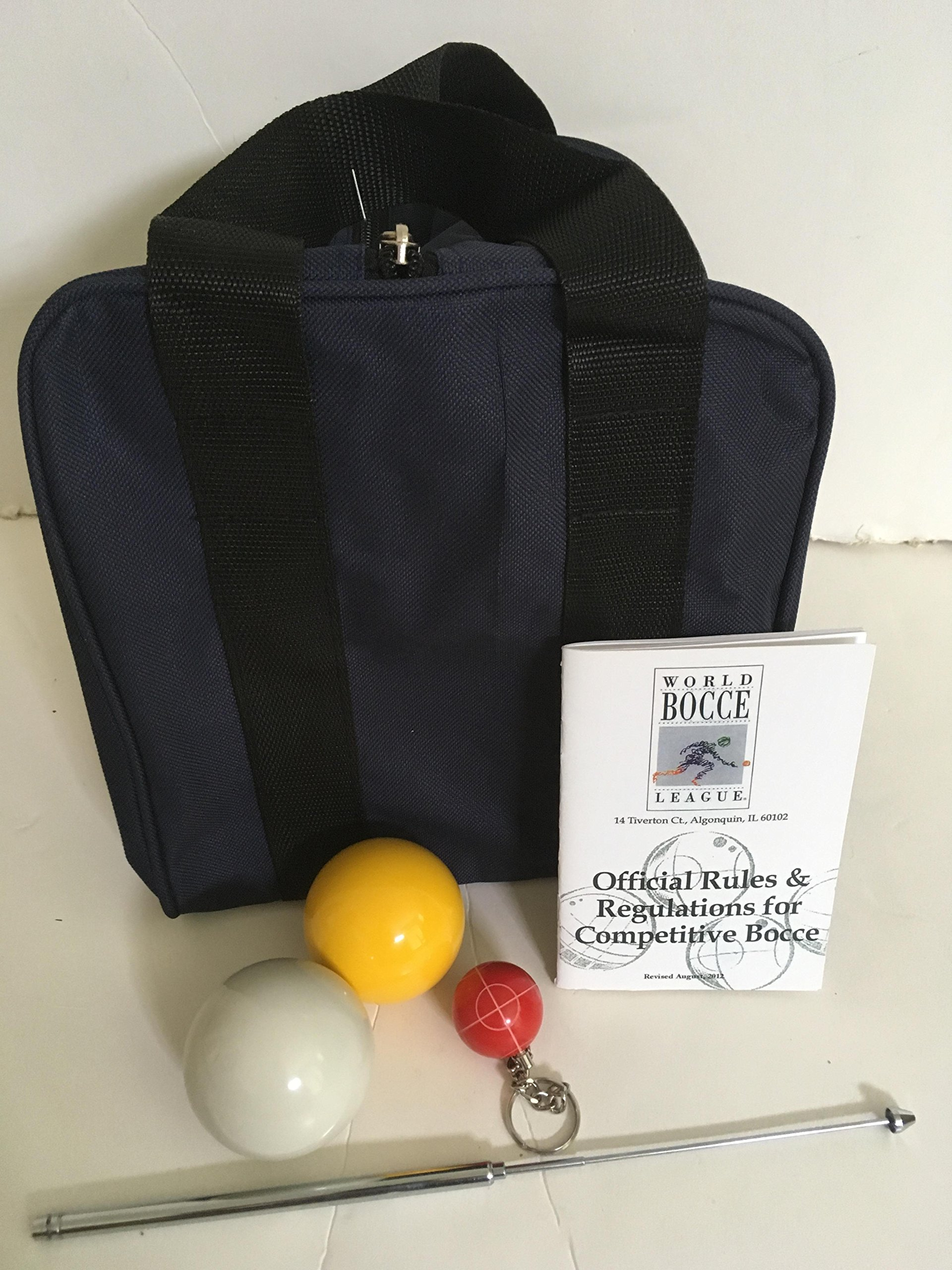 Unique Bocce Ball Accessories Package - Extra Heavy Duty Nylon Bocce Bag (Blue with Black Handles), yellow and white pallinas, Extendable Measuring Device, Rule Book and Keychain