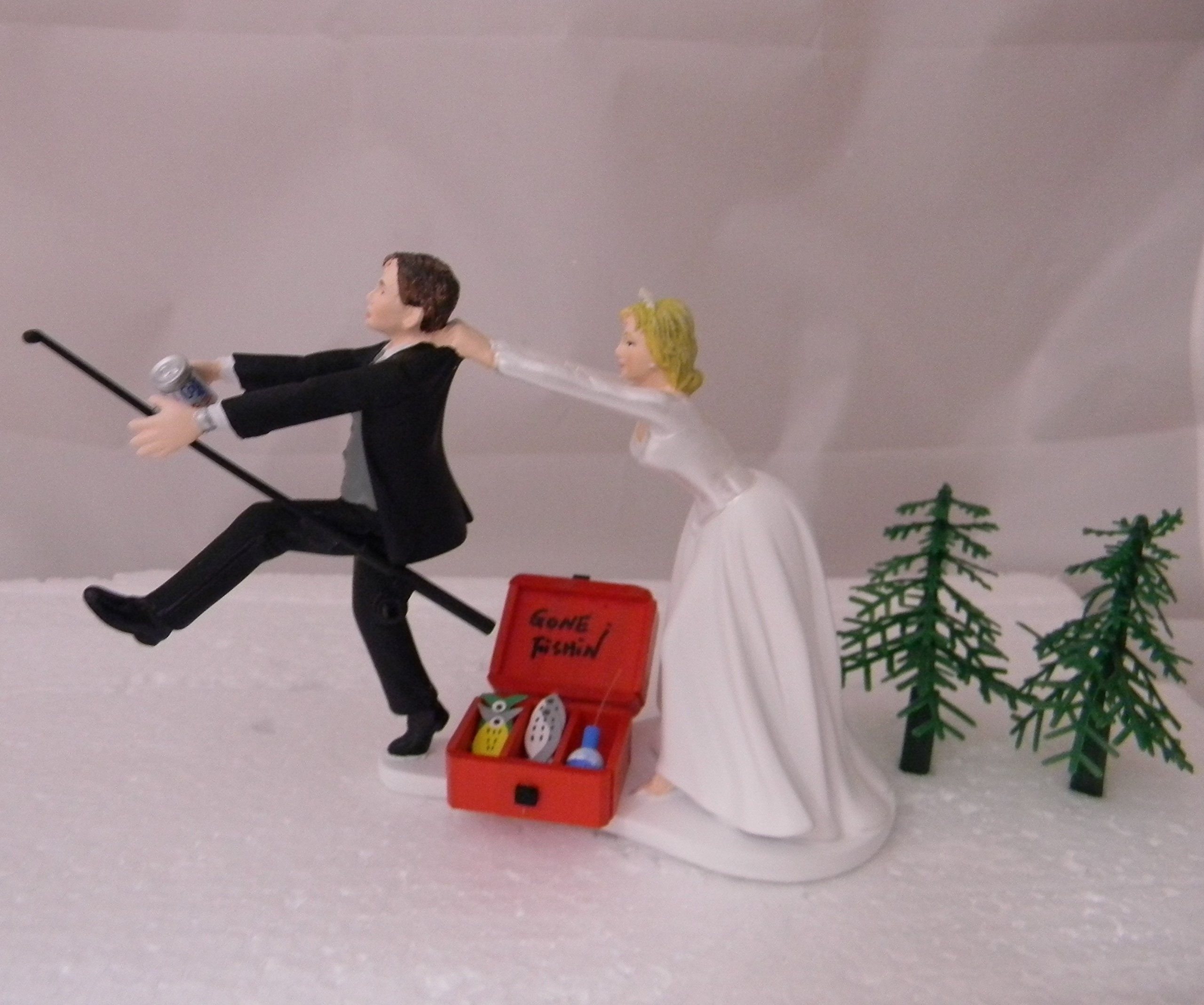 Wedding Reception Party Drunk Running Groom Beer Can Fishing Cake Topper