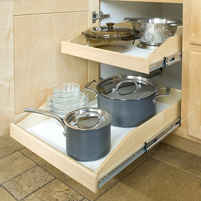 Ready-to-finish Maple Fronts 18-1//4 Width x 20-1//2 Depth Slide-A-Shelf Standard Slide-out Shelf with Full Extension Rails