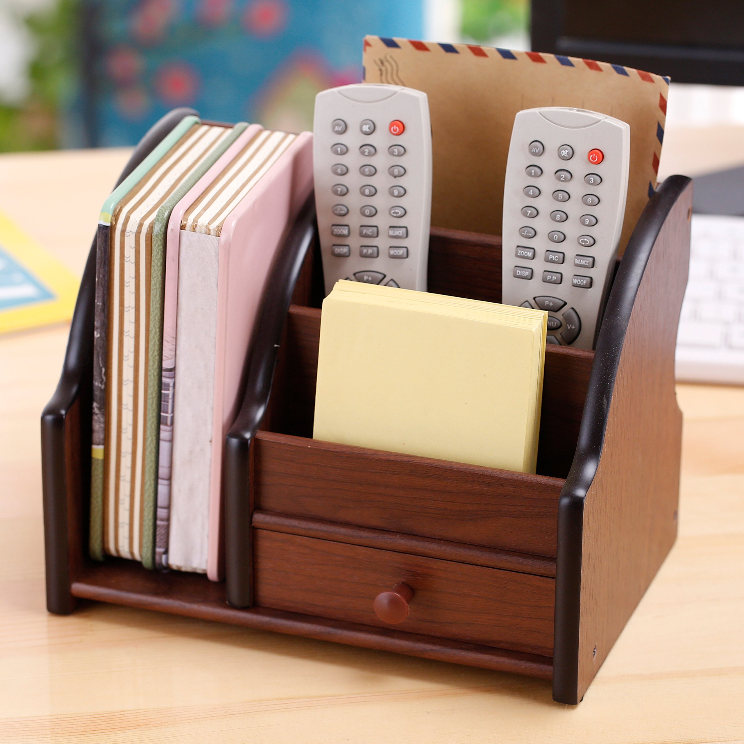 5 Compartment Wood Desktop Office Supply Organizer / Mail Holder Rack with Storage Drawer by MyGift (Image #3)