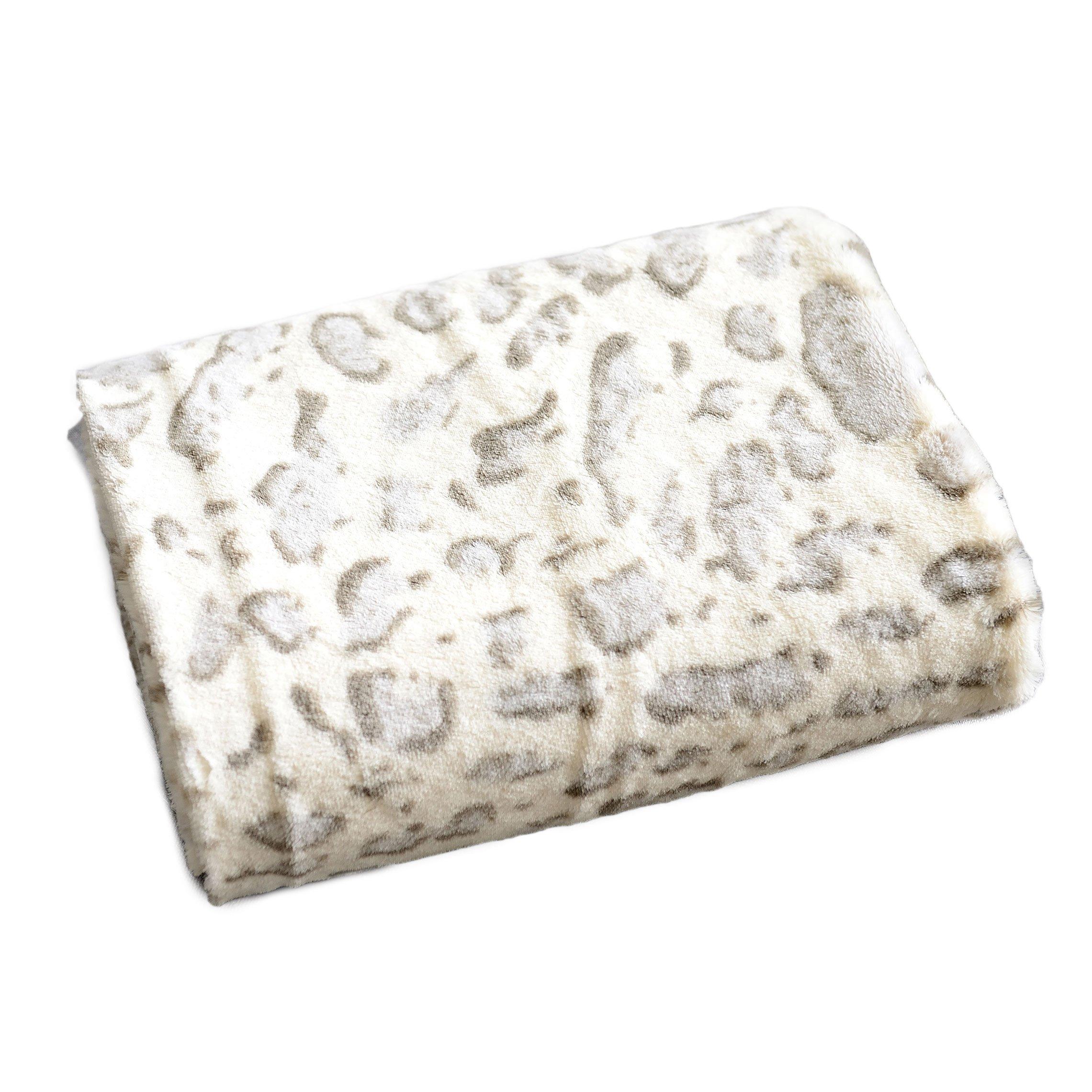 Cheer Collection Animal Print Throw Blanket   Soft Velvety Faux Fur Microplush Reversible Cozy Warm Throw Blanket - 60'' x 70'' - Snow Leopard