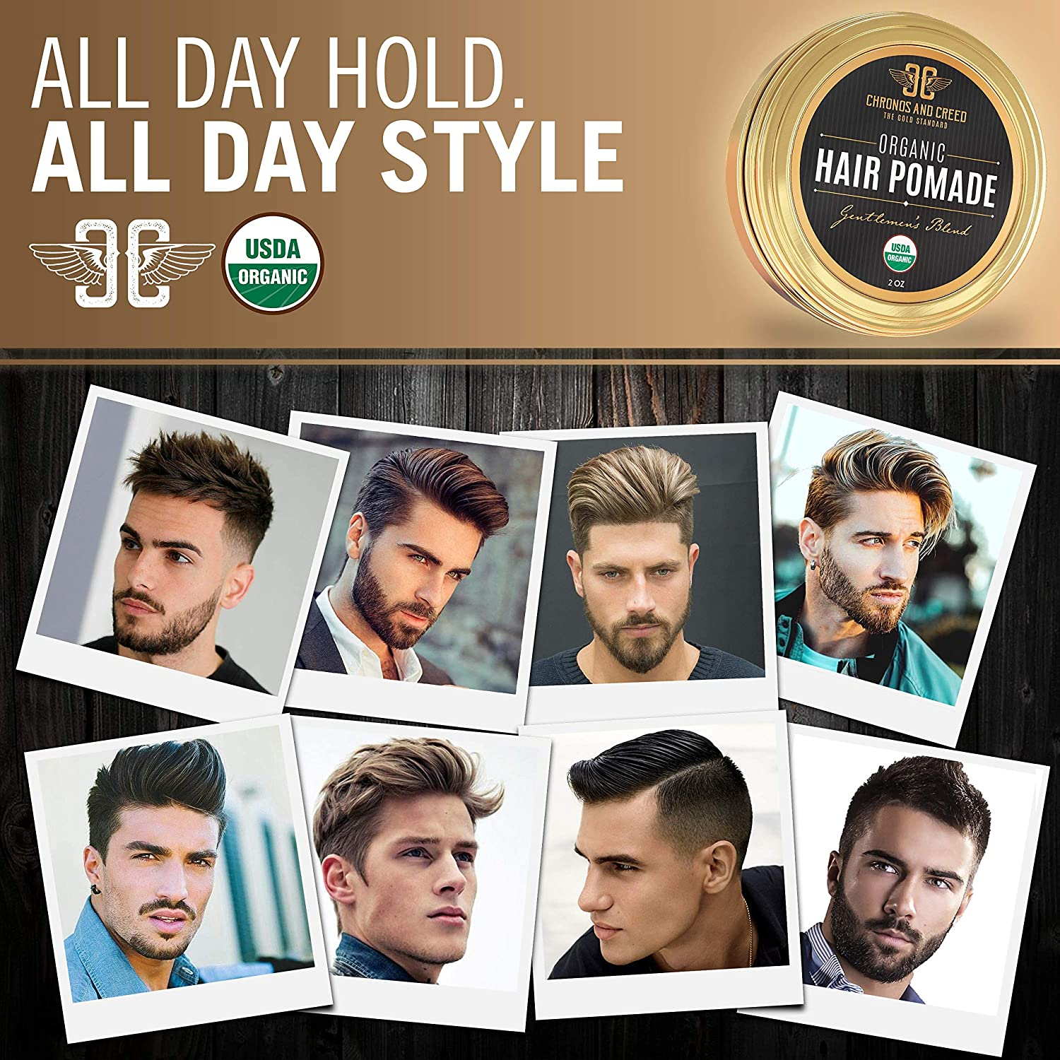 Amazon.com   Pomade - USDA Organic Hair Wax Pomade For Men - All Day Hold -  Premium Hair Product For Men With Medium Shine - Natural Softer Hair -  Natural ... dacf7262cd