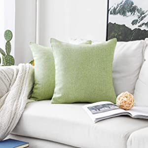 Home Brilliant Throw Pillow Covers Decorative Burlap Linen Cushion Cover for Sofa Couch Bed, 18x18 inch, Set of 2, Grass Green
