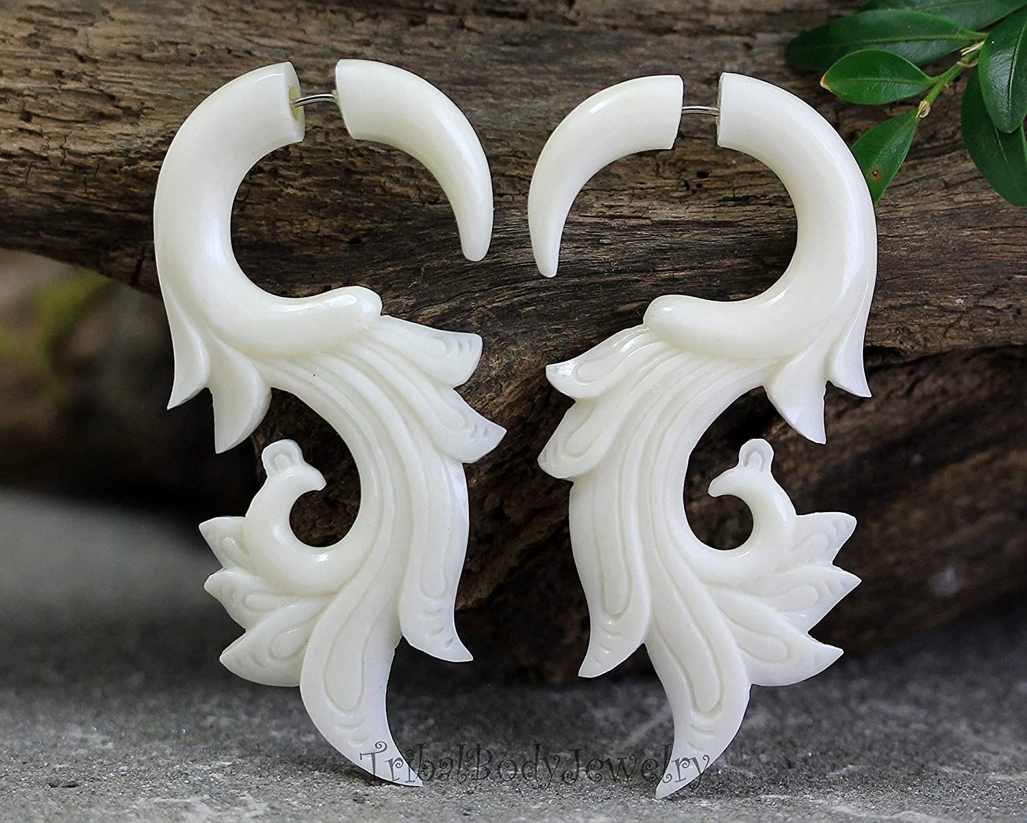 Organic Piercings Carved Bone Cheaters Fake Gauge Earrings Tribal Body Jewelry