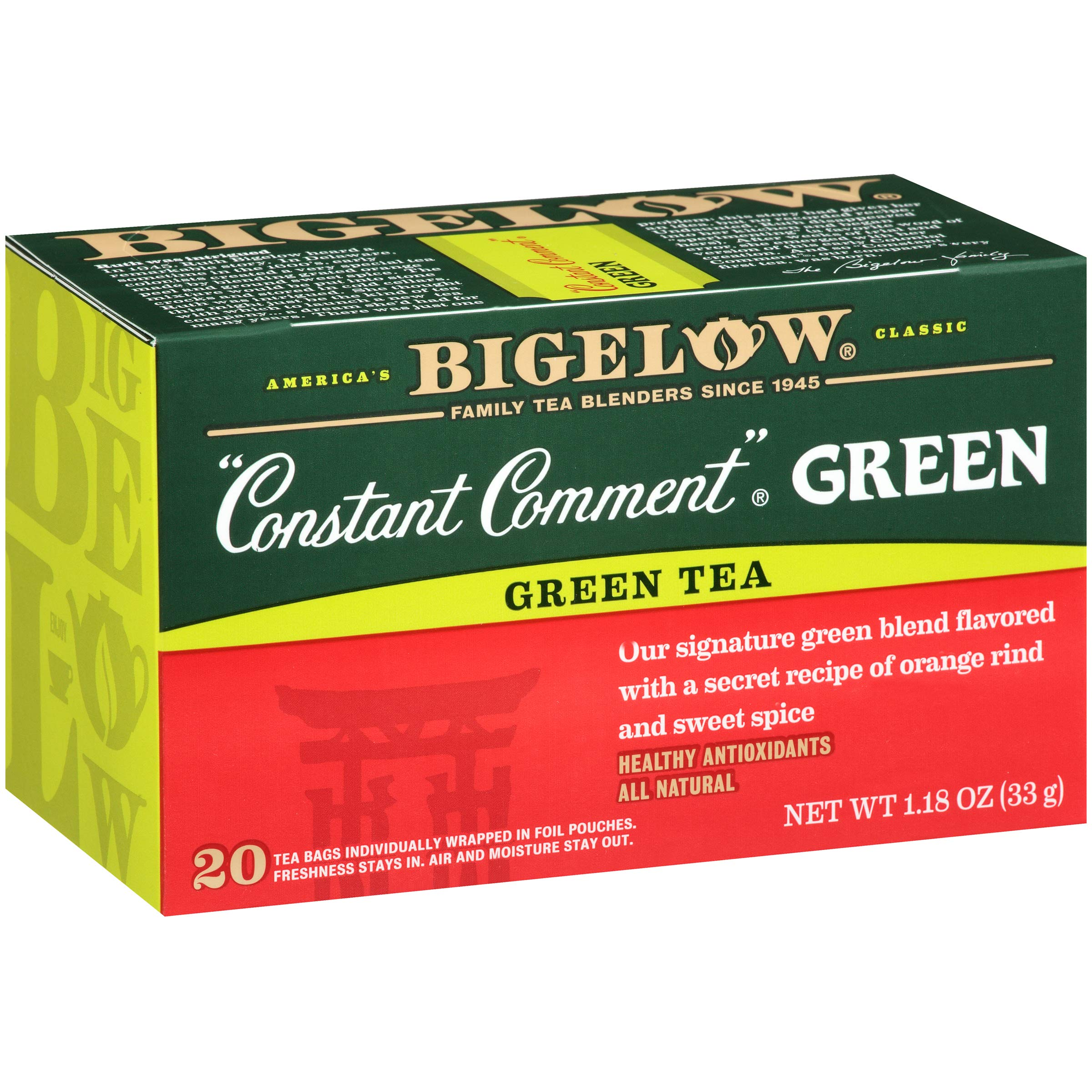Bigelow Constant Comment Green Tea 20-Count Boxes 1.18Oz (Pack of 6), 120 Tea Bags Total.  Caffeinated Individual Black Tea Bags, for Hot Tea or Iced Tea, Drink Plain or Sweetened with Honey or Sugar by Bigelow