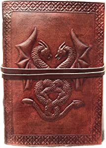 Leatheristic Handmade Vintage Genuine Leather Double Dragon Bound Journal Diary Notebook Planner Organizer Travel Scrapbook Photo Album Blank Unlined Pages to Write Sketch Create Gift for Men & Women